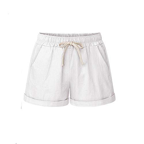 ITISME Pantalon Short Femmes Ete Coton Lin Grande Taille Haute Poche Bandage SolideShort Fonctionnement des Short Sports LargeJambe Un Pantalon Bermuda Femm