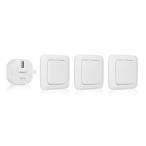 Smartwares SH5-SET-BS SmartHome 3er-Set Funk-Wandschalter und 1 Einbauschalter für Geräte bis 1000 Watt ideal für das Schlafzimmer, 230 V