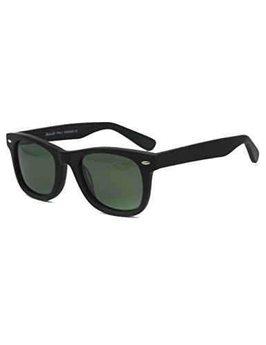 Classic Acetate small face men women teenager Glare-Free Sunglasses (Matt Schwarz)