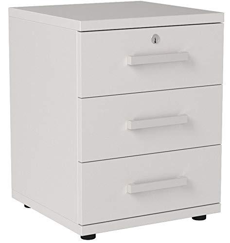 CARO-Möbel Bürocontainer Schreibtischcontainer Büroschrank Toronto, weiß, abschließbar mit 3 Schubladen, 44 x 58 x 45 cm