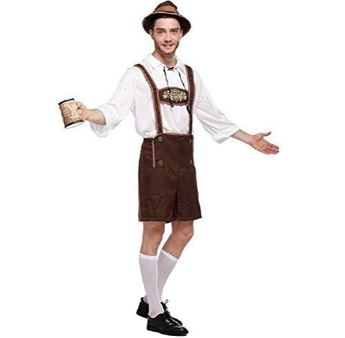 ILOVEDIY Herren Oktoberfest Lederhosen Bierfest Kostüm mit Hemd Hat Bavarian Beer Guy Halloween (L)