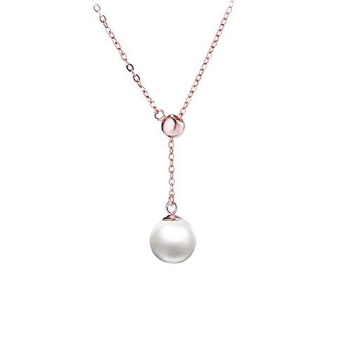 SECOWEL-Perlen-Kette-Sterling-Silber-Damen-Halsketten-mit-Perle-Anhnger