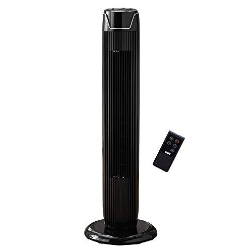 Oszillierender Turmventilator mit Fernsteuerung Säulenventilator 90 CM/36 zoll 3-stufigem Windmodus mit 3 Drehzahlen und langem Kabel(1,75m) Schwarz (Batterien NICHT im enthalten) 2 Jahre Garantie