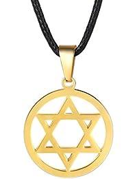 62105bc411c5 PROSTEEL Collar de Cuero con Colgante de Estrella de David de Acero  Inoxidable 55cm 61cm