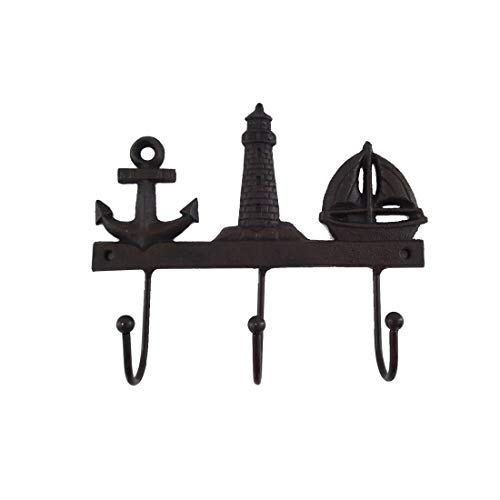 LB H&F Lilienburg Garderobe MARITIM Wandgarderobe Kleiderhaken Anker Leuchtturm Schiff Gusseisen - 20 cm Gross