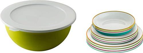 Berger Teller-Set 14 teilig bunt Campinggeschirr leichte Picknickteller bruchsicher Essgeschirr