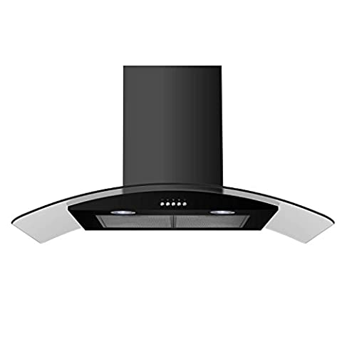 electriQ 90cm Curved Glass Satin Black Push Button Chimney Cooker Hood -5 Years Parts and 2 Years Labour