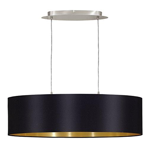 Eglo Maserlo 31611 Lámpara de techo con pantalla de níquel mate, color negro y acero dorado, 78 cm