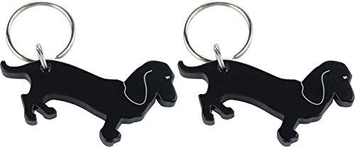 munkees 2 x Schlüsselanhänger Dackel-Anhänger Hunde-Figur Flaschenöffner, Schwarz, Doppelpack, 34528