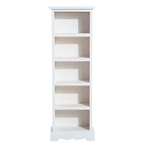 Homcom® DVD Standregal CD Ständer Regal für 115 CDs Holzregal 5 Fächer Weiß 30x17x90cm