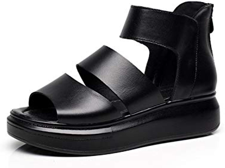 Qiusa  s Noires Femmes Fermeture éclair Romaine Chaussures Peep Toe Bride Chaussures Romaine Plates (coloré : Noir, Taille...B07H1S5766Parent 5d5529