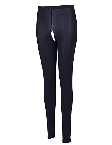 YiZYiF Transparente Leggings Damen Netz Bell-Bottom Hosen Reizwäsche Dessous Erotik Unterwäsche M XL (M, WW Schwarz (Ouvert) Tights)