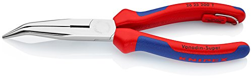 Knipex 26 25 200 T Round Nose Pliers with cutting edge (cranesbill pliers, chrome-plated with fixing lug, multi-component sheaths, integrated attachment eyelet for attaching a fall protection, 200 mm) -