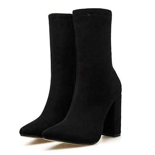 MYMYG Frauen Stiefeletten Nachtclub Spitzgarn Elastische Starke Ferse High Heels Schuhe Stiefel Schneestiefel Schneeschuhe Madeline Boots Chelsea Boots ()