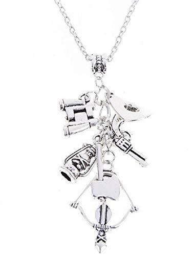 EVRYLON Halskette für Herren und Frauen Damen Kette Frauenhalskette Teleskop Axt Zombies The Walking Dead Gewehr Armbrust Silberne Farbe