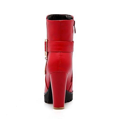 VogueZone009 Femme Zip Plate-Forme Étanche Matière Mélangee Couleur Unie Haut Bas Bottes Rouge