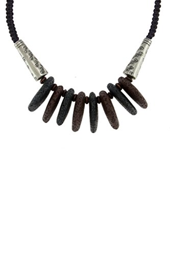 VIVIDS INDIA Women's Black & Brown Oval Lava Stones Necklace (N-18)