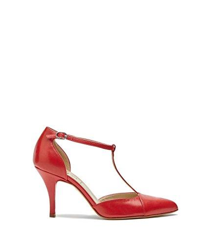 Poi Lei Damen-Schuhe Spitze Riemchen Pumps Paloma Echtleder Rot -Made in Italy-