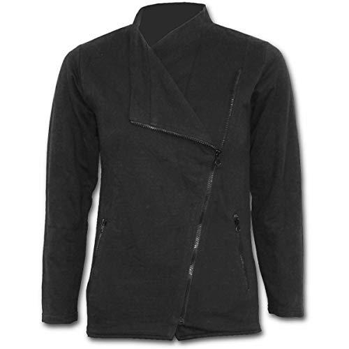 Spiral Direct Damen Metal Streetwear - Slant Zip Women Biker Jacket Black Jacke, Schwarz 001, 50 (Herstellergröße: XX-Large) Womens Black Metal