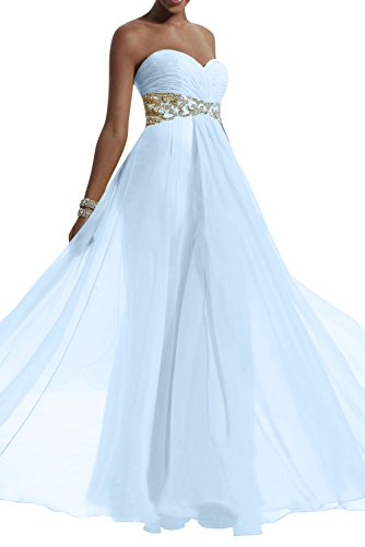 Gorgeous Bride Modisch Lang Chiffon Empire Herz-Ausschnitt Kristall Abendmode Brautjungfernkleid Ballkleid Himmelblau