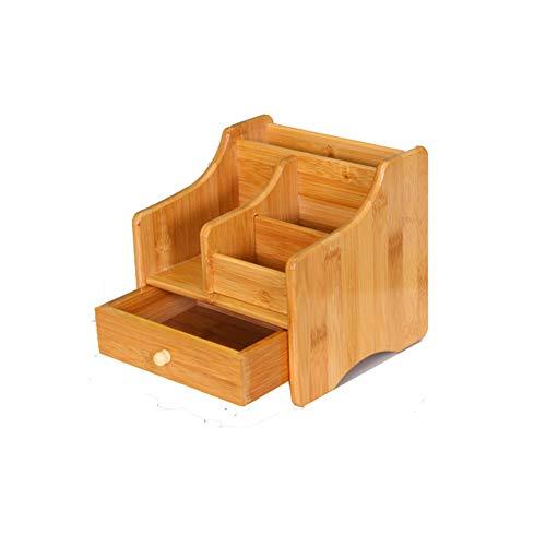 HomDSim Ufficio Bamboo Desk Organizer Makeup Storage Box per Uso su Desktop|Table|Counter in Cucina o Lavoro Spazio