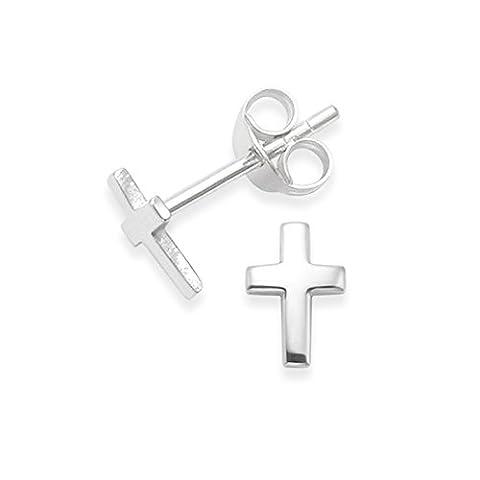Petite Croix Argent - Argemt 925/1000 petites croix boucles d'oreilles -