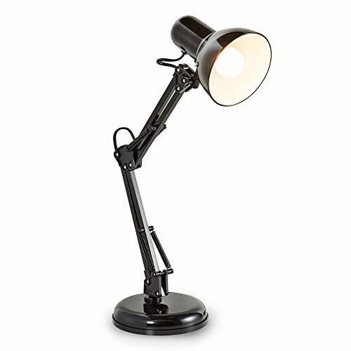 Lampada LED da tavolo retro I interruttore on off I luce orientabile I luce da scrivania per l'illuminazione da interno I corpo metallo, color nero I attacco lampadina E14 I 230 V I IP20