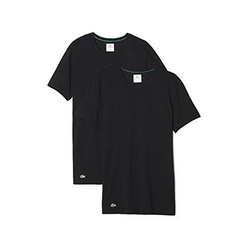 Lacoste Herren T-Shirt Unterhemden Rundausschnitt 148321 im 2er Pack (schwarz/schwarz, M)