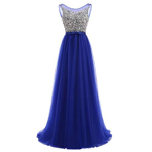 BINGQZ Damen/Elegant Kleid/Cocktailkleider Vestidos de Fiesta Lange Abendkleider Royal Blue Tulle Formales Langes Kleid O Neck Plus Size (Kleider Formal Blue Royal)
