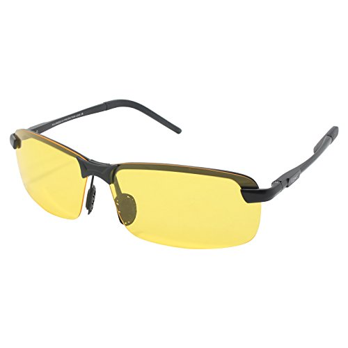 LZXC Nachtsicht-Polarized Fahren Sonnenbrillen Outdoor Sport Eyewear Unzerbrechlich Ultra-Light Einstellbar AL-MG Rahmen für Skifahren, Radfahren, Angeln, Laufen, Jagen, Golf Yellow Lens für Männer