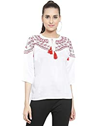 indietoga Women White Viscose Embroidered Top (XS to Plus Size 7XL)