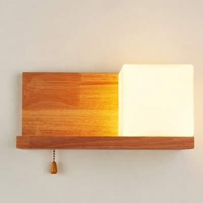 Nordic Wandleuchte Bett mit Schalter Rack Schlafzimmer Gang kreative Holz moderne minimalistische japanische Wandleuchte, C-Abschnitt rechts mit Schalter - Rechts Abschnitt