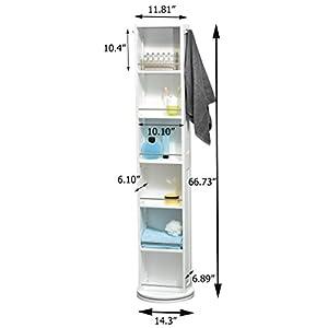Columna de baño giratoria – 6 estantes + Espejo + 2 colgadores – Color blanco