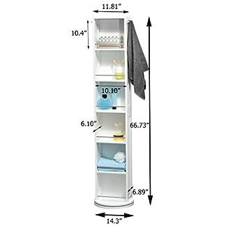 315NG%2B58rIL. SS324  - Columna de baño giratoria - 6 estantes + Espejo + 2 colgadores - Color blanco
