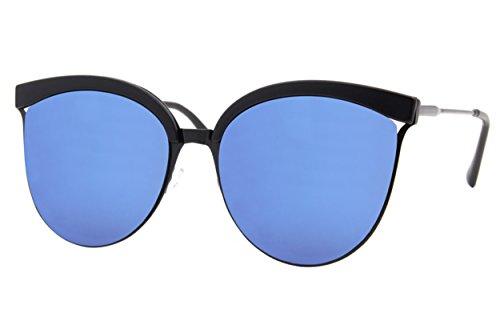 Cheapass Sonnenbrille Cat-Eye Schwarz Blau Verspiegelt Designer-Brille Groß XXL UV400 Metall Damen Frauen