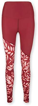 KCA-LAB Damen Fitness Leggings aus recyceltem Material mit Kompression Blumenmuster langes Bein, blickdicht,HI