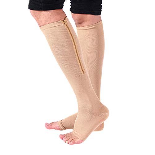 SHUBIHU Socken 2PC Unisex Compression Socks Stretch Legs Unterstützung Open Toe Kniestrümpfe (Gelb A, L) - Herren-baumwoll-socken Gold Toe
