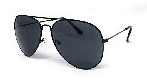 Eyewear World Sonnenbrille, Metallrahmen, Schwarze Gläser, mit gelbem Band