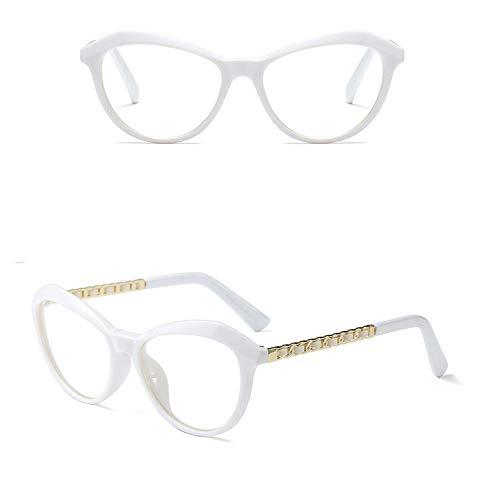 WULE-RYP Polarisierte Sonnenbrille mit UV-Schutz Myopie-Brillengestell, Retro-rundes Gesicht Full Frame Clear Lens Brillen Superleichtes Rahmen-Fischen, das Golf fährt (Farbe : White)