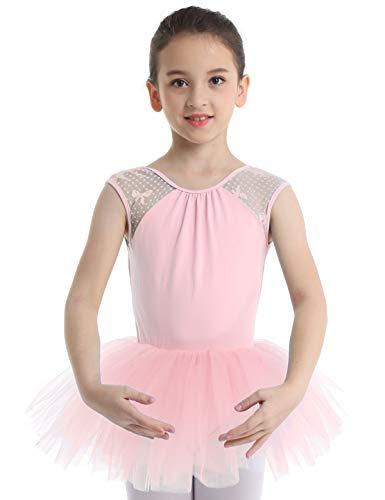 YiZYiF Kinder Ballettkleid Ballerinas Tanz Kostüm Ballett Trikot Kleidung Kinder Ballettanzug Rückenfrei aus Spitze und Tüll Röckchen Gr. 104-164 Rosa - Rosa Ballerina Kostüm