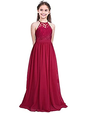 iEFiEL Vestido Largo de Princesa Fiesta para Niña Vestido Floreado de Boda Bautizo Cuello Halter Dama de Honor