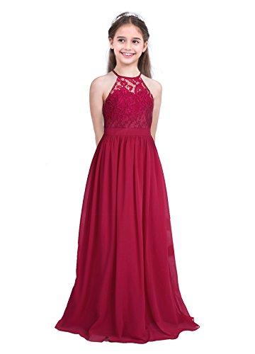 Tiaobug vestito lunghe ragazza bambina schienale scollo senza maniche abito da sera vita alta damigella d' onore formale principessa elegante floreale fiore chiffon 4-14 anni rosso 12anni
