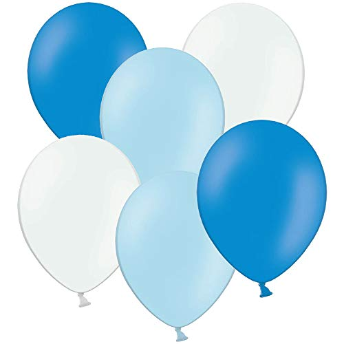 50 Luftballons zum 1. Geburtstag, Taufe, Babyparty, Babyshower Party, Farbe: blau hellblau weiß, Set aus 50 Ballons in 1 Größe Durchmesser 28cm, die ideale Dekoration / Geburtstagsdeko, Latexballons (Ballons Blaue Taufe)