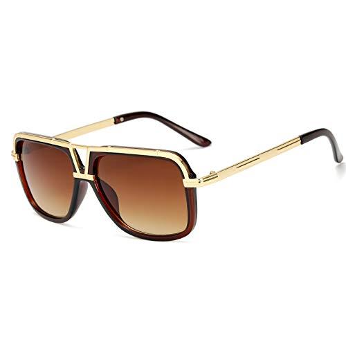 Sonnenbrille Europa und den Vereinigten Staaten klassischer Trend Herren Sonnenbrille Retro Big Box Paar klassische Sonnenbrille braun Goldrahmen