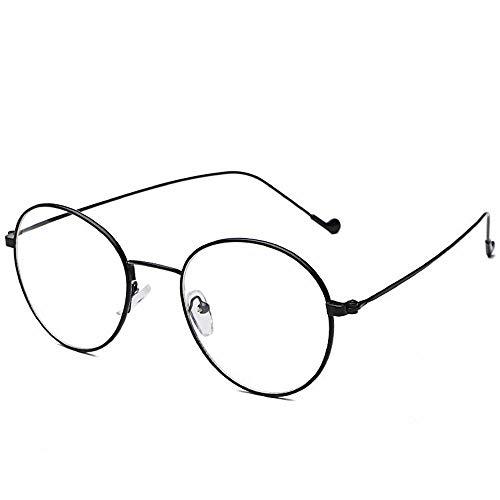 Easy Go Shopping Ultraleichte und feinkantige Metall-Myopie-Brille Durchsichtige Brillen für Männer und Frauen. Sonnenbrillen und Flacher Spiegel (Farbe : Bright Black Flat)