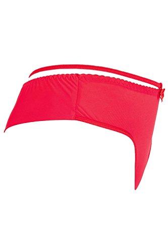 Axami V-7128 Strings Damen Dessous Musterlos Streifen Normaler Bund Setteil EU Rot
