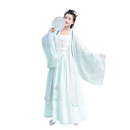 YCWY Hanfu für Frauen, Vintage Bestickte Langarm Chinesisches Kleid Foto Schießen Kleidung Cosplay Dance Kostüme FlowerR Druck 2 Stück (Dance 2 Stück Kostüme)