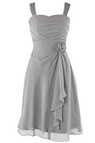 Victory bridal chouchou de 2–support abendkleider courte en mousseline de danse/cocktailkleider sommerkleider brautjungfernkleider Argenté - Argent
