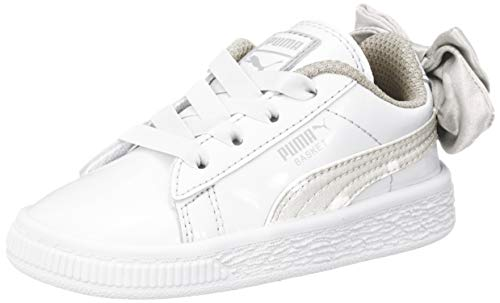Puma Baby Mädchen Basket Bow DOTS AC INF Sneaker Weiß White-Silver Gray 3, 23 EU -
