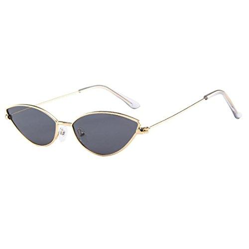 URSING Frauen Mode Kleiner Rahmen Katzenauge Oval Brillen Retro Vintage Sonnenbrille Damen Klassische Metall Rahmen Cateye Brille Women Sunglasses Damenbrillen Eyewear UV-Brille (B)